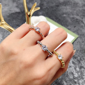 Wholesale Fashion Geometric gold Round Ball Bead Ring romantic cz zircon crystal diamond ring for women girl Dainty Moissanite Ring famous jewelry