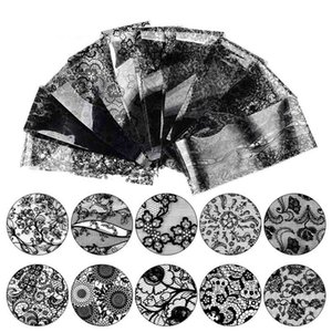 Wholesale 10pc SET Nail Art Black White Lace Sticker Foils Star Paper Floral Decal Decoration Transfer Wraps Tips Design Flower Polish
