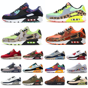 classic 90 men women running shoes 90s undefeated Lahar Escape Green Camo Total Orange Obsidian Bred mens trainers sports sneakers 36-45