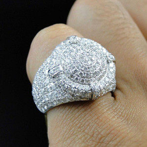 Wholesale vintage male jewelry resale online - Fashion jewelry Vintage Men Ring Classical Full diamonds Punk designer Rings Rock k gold plated Luxury Rings Trendy Retro male ring
