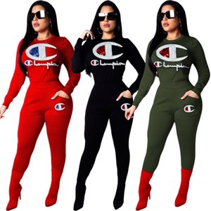 women designer sportswear long sleeve sweat shirt pants tracksuit hoodie legging 2 piece set bodycon outfits fashion sports set hot klw0056