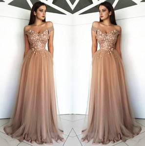 Arabic Off The Shoulder Tulle Long Evening Dresses 2019 Lace Applique Beaded Sweep Train Formal Party Prom Wear Dresses BC0729 on Sale