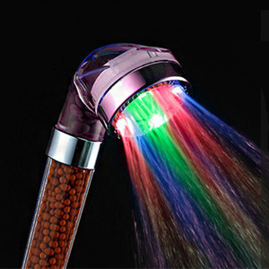 LED Anion Shower SPA Shower Head Pressurized Water - Saving Temperature Control Colorful Handheld Big Rain Shower 7 Color