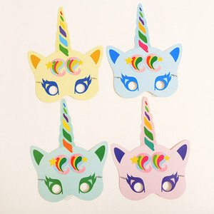 Wholesale Luminous Unicorn Paper Party Mask Noctilucence Funny Colorful Masks Rainbow Night Light Set For Birthday Wedding Halloween Party