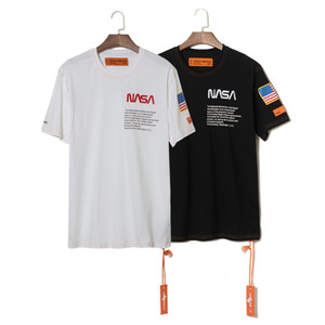 NASA x Heron Preston T Shirt Mens Summer Short Sleeve T Shirts Emboridered Crewneck Casual Tops 2 Colors on Sale