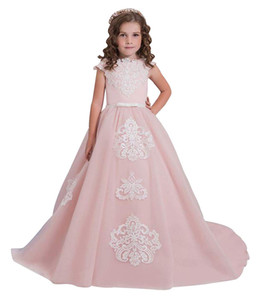 Wholesale BoHo Prom Partty Formal Pageant Wedding Easter Graduation Lace Tulle A-line Tutu Cute Handmade Flower Girl Princess Bridesmaid Gowns 2019