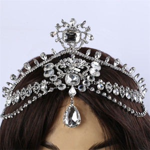 Wholesale Fashion Sparkly Crystal Bridal Head Chain indian hair jewelry tikka women Wedding Tiara Bride forehead Decoration Accessories C18122501