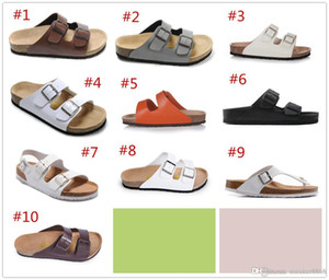 Wholesale 802 Arizon 2018 Hot sell summer Beach Women and mens 3 buckles flats sandals Cork slippers unisex casual shoes print mixed colors size 35-46