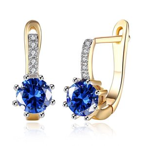 Wholesale MGFam E Lovely Royal Blue Zircon Hoop Earrings For Women k Fashion jewelry Mix Gold Plated Nickel Free