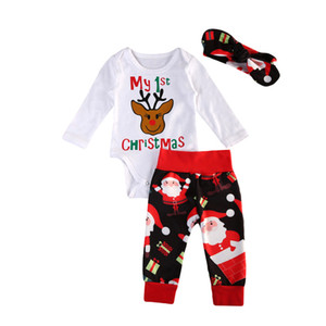 Baby Christmas Cotton Suit White Moose Printing Romper +Santa Claus Printing Pants+headband 3 pcs lot 0-2 Years Old LA46