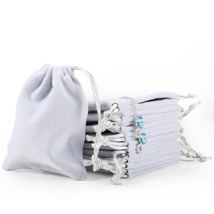 Wholesale New Velvet Jewelry Drawstring Cord Gift Bags Pink Ice gray Dust Proof Cosmetic Storage Crafts Packaging Pouches for Boutique Retail Shop