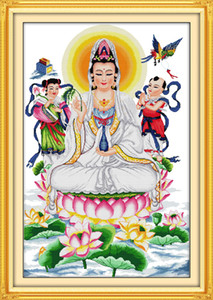 Wholesale painting kwan yin resale online - Kwan yin giving blessings home decor painting Handmade Cross Stitch Embroidery Needlework sets counted print on canvas DMC CT CT