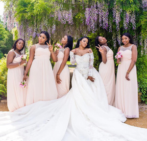 Wholesale africa dresses resale online - 2019 New Sheer Neck Chiffon Mermaid Bridesmaid Dresses South Africa Pearls Beaded Maid of Honor Dresses Black Girls Party Gown BM0378