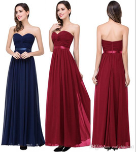 Wholesale 2020 Burgundy Ruched Chiffom Prom Evening Dress Cheap Strapless A-line Party Gown Real Pictures Bridesamid Formal Gown CPS263