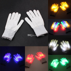Wholesale New arrival Creative LED Finger Lighting Flashing Glow Mittens Gloves Rave Light Festive Event Party Supplies Luminous Cool Gloves Toys