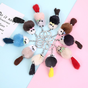 Wholesale cute fox keychain for sale - Group buy 10 Colors Charms Fluffy Bow Fox Keychain Pendant Cute Keyrings Pom Pom Car Key Holder Women Bags Backpack Accessories Keyfob