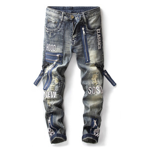 Wholesale Hi Street Mens Distressed Biker Jeans Letter Patchwork Fashion Ripped Denim Pants Retro Blue Slim Fit Trousers With Fake Zippers