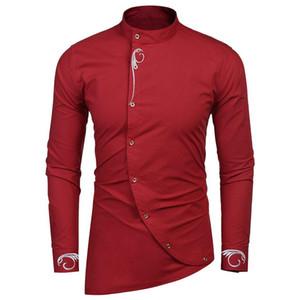 ce2bdf16 Wholesale Fashion Men's Casual Long Sleeve Embroidery Oblique Button Down  Shirt