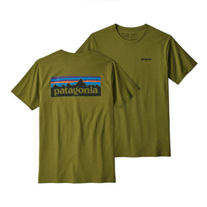 Wholesale Patagonia Mens Designer T Shirts Patagonia Mountain Green Short T Shirt Men Women High Quality Designer Shirt Size S L