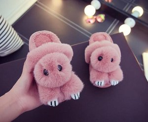 Wholesale Parenting Home Shoes Comfortable Cartoon Rabbit Children Slippers Warm Soft Bedroom Plush Shoes Kids Boys Girls Slippers 2pairs 4pcs