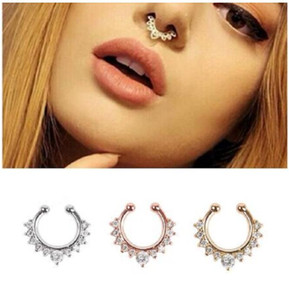 Wholesale Crystal Fashion Clicker Fake Septum for Women Body Clip Hoop Vintage Fake Nose Ring Faux Piercing Body Jewelry Arts