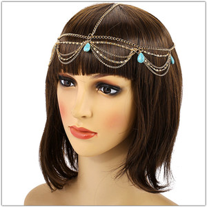 Wholesale Wedding Bridal Headband Hair Decoration Fashion Indian Boho Beaded Head Piece Wedding Green Turquoises Head Chains Jewelry