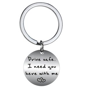 Wholesale 12 PC Drive Safe I Need You Here With Me Heart Couple Lover Women Men keychain Family Friend Stainless Steel Key Ring