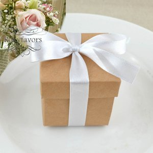 Wholesale anniversary ideas gifts for sale - Group buy 50PCS PC quot Square Brown Craft Favor Boxes with Ribbon Wedding Favors Candy Boxes Birthday Sweet Package Event Ideas Anniversary Gifts