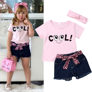 Wholesale Summer girl kids clothes Set printed cartoon Pink letters top+Denim shorts+bow headband 3 pieces sets kids designer clothes girls UJY583