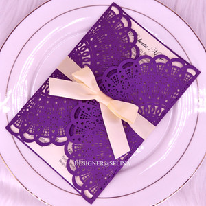 Wholesale invitations themes resale online - Elegant Laser Cut Wedding Invitations with Champagne Ribbon Purple Invitation Cards for Bridal Shower French Theme Quinceanera Invites