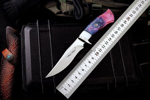 LONG Fixed Blade knife M390 Steel Specular surface blade Wooden handle Sewing sheath Camping hunting knife on Sale