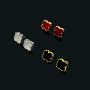 Wholesale hot sale luxury designer jewelry women shell clover earrings silver rose gold k gold mini size cm black white red four leaf flower stud