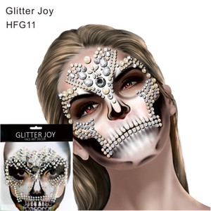 Wholesale HFG11 White Fake Pearl and Clear Jewel Gem Face Sticker Body Paint Decor for Dressing Party Carnival Fiesta Holiday Gift
