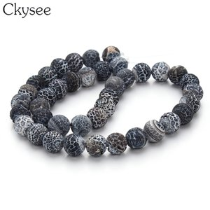 Wholesale Ckysee cm strand Weathering Black Onyx Stone mm Round Loose Spacer Beads For DIY Necklace Bracelet Jewelry Making