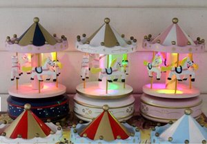 Wholesale With lights oh carousel music wooden music box home furnishing a Christmas gift will shine