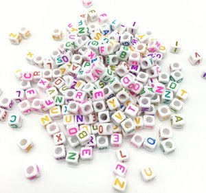 Wholesale Hot Sale Bracelet Necklace Charms Random MM Mixed Colors Acrylic Plastic Opaque Square Cubes Single Letter Alphabet Beads