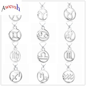 Wholesale Awevsh new Stainless Steel Star Zodiac Sign without Neck Constellation Pendant Necklace Women Chain Necklace Men Jewelry