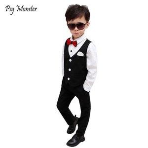 Boys Burgundy Short Suits Vest Set Slim Fit Ring Bearer Suit For Boys Brand Formal Classic Costume Wedding Birthday Party Gift