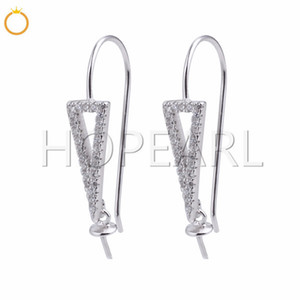 Wholesale Triangle Drop Pearl Findings Sterling Silver Zircon Earrings for DIY Accessory Handmade Jewelry Pairs
