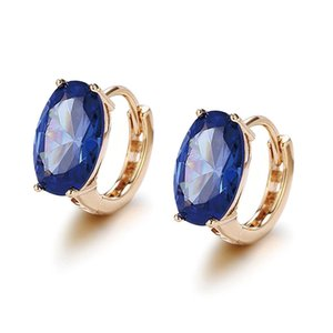 Wholesale E Princess Style Oval Royal Blue Zircon Hoop Earrings for Women Fashion Jewelry k Gold Plated