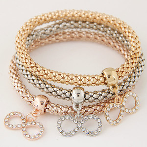 Wholesale Vintage Retro Fashion Jewelry Accessories Rhinestones Bow Pendants Statement Multilayer Bracelets Wrist Elasticity Charm Bangles For Women