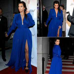 kim kardashian royal blue prom dresses long sleeve deep V neck chiffon Red Carpet Celebrity Dress 2018 special occasion evening gowns cheap on Sale