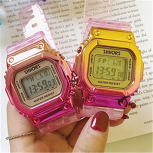 Fashion Colorful lady watches Candy Jelly Men Women Silicone Rubber LED Screen Digital Watch Transparent Square Women Wristwatches