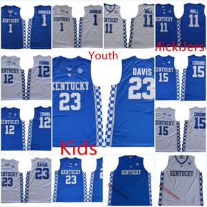 camisola do basquetebol kentucky venda por atacado-Jovem Kentucky Wildcats Anthony Davis Basquetebol Jersey Kids Devin Booker Demarcus Cais Cidades John Wall Kentucky Wildcats Jersey S xl