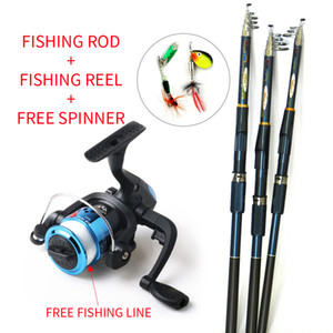 New Lure Fishing Reels spinning reel Fish Tackle Rods Fishing Rod and Reel Carbon FRP rod Ocean Rock (Lure and Line As Free Gift )