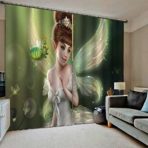 Wholesale curtains designs for living room resale online - European D Curtains angel design Curtains For Living Room Bedroom soundproof windproof curtains blackout curtain