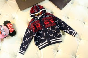 Wholesale Boy sweater children designer clothing new fashion black and white red contrast color cardigan Closing design casual boy hoodie