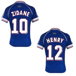 1998 WORLD CUP soccer jerseys ZIDANE HENRY shirts man soccer tops home football uniforms retro blue soccer outfits custom any name number