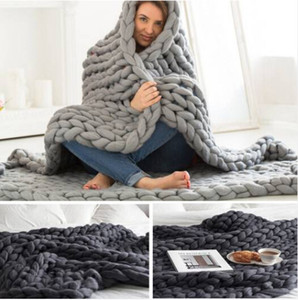 Wholesale Hot Wholesales Hot sales Chunky Knit Blanket Throw Bulky Blanket Knitting Yarn Baby Bed Chair Mat Rug