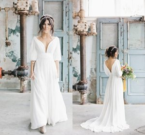 2020 Fashion V neck and Back Boho Wedding Dresses Bridal Gown with Poet Sleeves Chiffon Country Wedding Dress on Sale